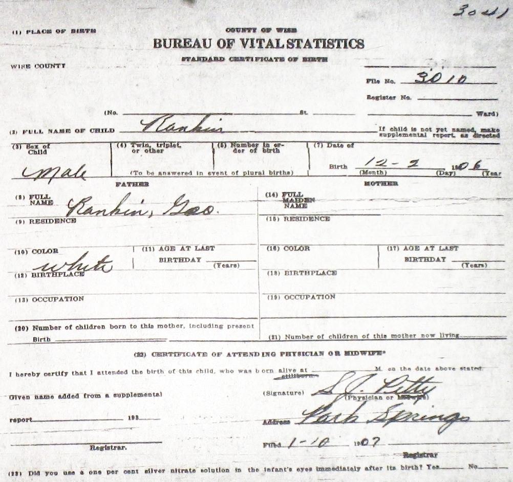 Wise county birth certificates 1900 1930s last names r z rankin dorothy ruth f 62929 sf tx georgia tx white decatur birthcert 9388g birthcert 9388ag rankin john homer m 42810 sam aiddatafo Images
