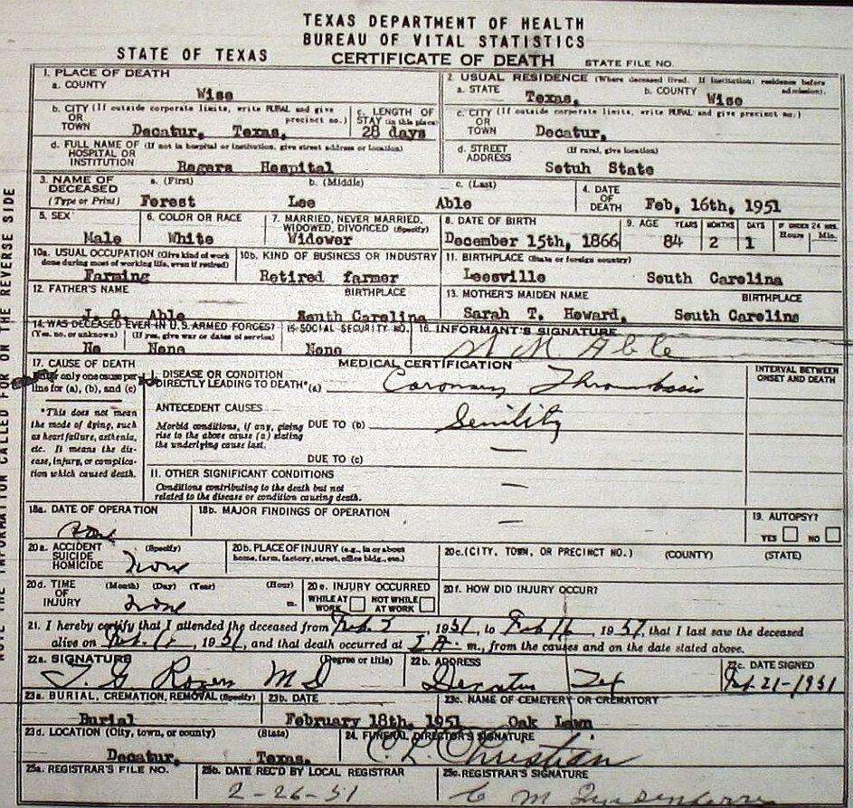 Death certificate images for wise county tx 1904 1966 with last abel thomas franklin 1957 abelthomasfranklin 1957g abernathy ella dora jackson mrs 1942 abernathyelladorajacksonmrs 1942g xflitez Image collections